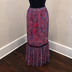 NWT Pink/Blue/Red Paisley Boho Maxi Skirt PLUS!